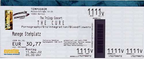 The Cure live concert: 11 11 2002 Berlin - Tempodrom (Germany) 'The