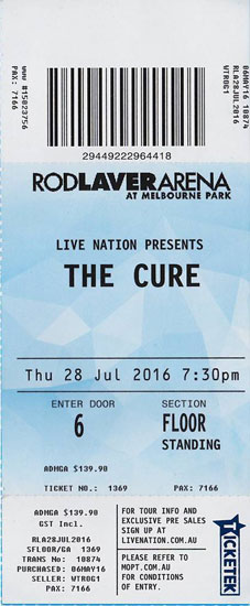 The cure tour dates in Melbourne