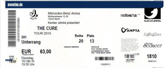 The cure live concert berlin mercedes benz for Mercedes benz tickets